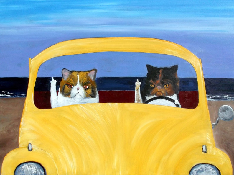 Angry CatMad Kitty 8 x 10  Dog art Beach Parking Road Rage Cat Art Print of an original oil painting