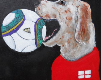 "English Setter Art Print of an original oil painting""GOOOOAAAAAAAALLLL !"" 8x10 Dog Art Soccer Football"