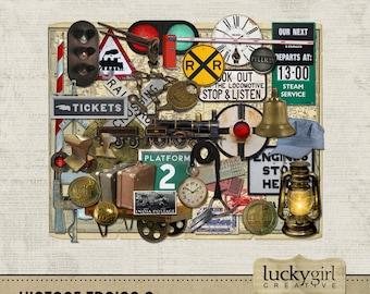 Vintage Trains 2 Digital Scrapbook Kit