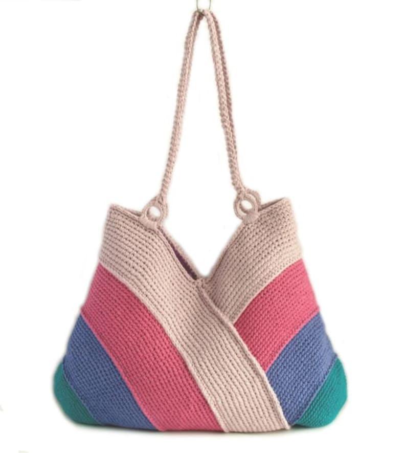light and dark pink colors dark lilac bag in emerald green summer bag hand knitted bag picnic tote bag Modern beach handbag