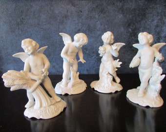 Dresden Porcelain, Four Season Angels, Dresden Angels, Bavarian Angels, The Four Seasons, Bavarian Bisque China, Bisque China Angels