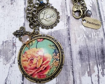 9c7d4a5bd vintage style pendant necklace for woman with antique rose and fleur de lis  charm, anniversary gift for wife, gift for mom, gift for grandma