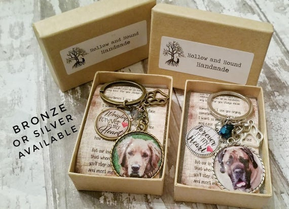 personalized pet memorial photo keychain w/ rainbow bridge poem, gift for new dog mom, custom picture keyring, pet keepsake, pet lover gift