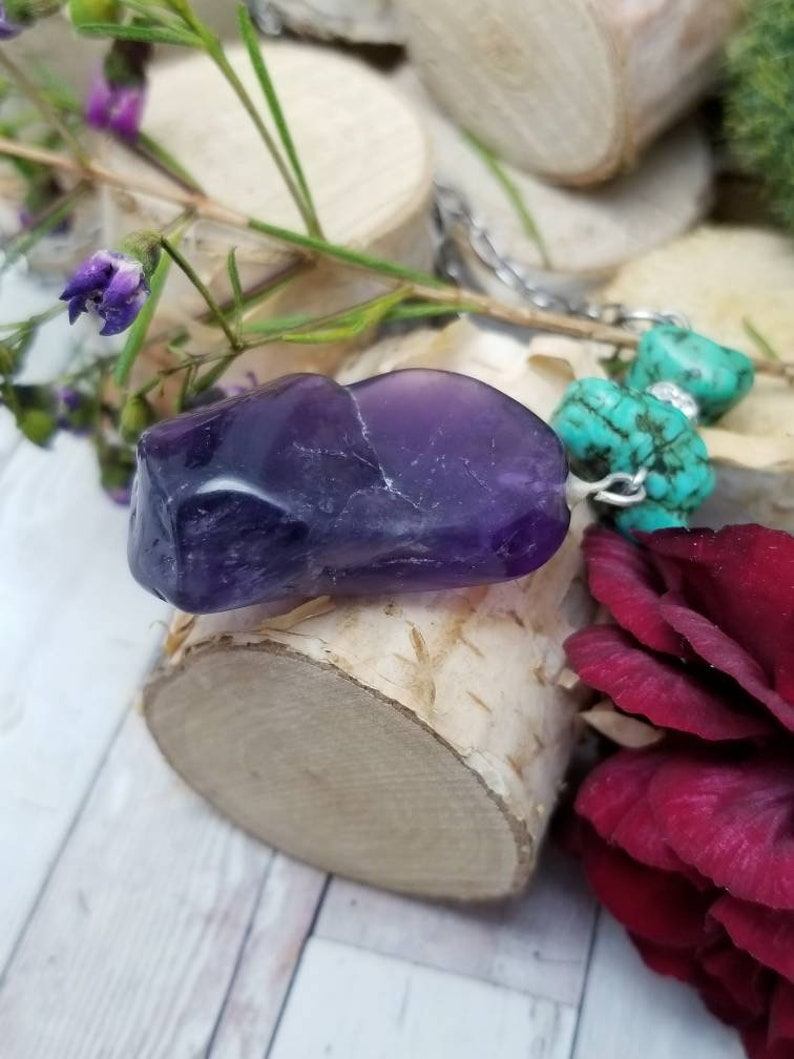 boho chic pendant necklace stainless steel paperclip chunky stone necklace amethyst pendant and turquoise Purple raw crystal necklace