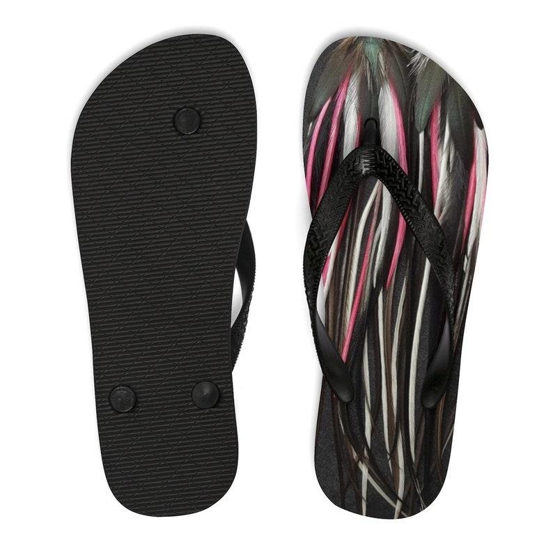 Pink Black Venom Unisex Flip-Flops Birdy Collection Feather Earrings Hen Rooster