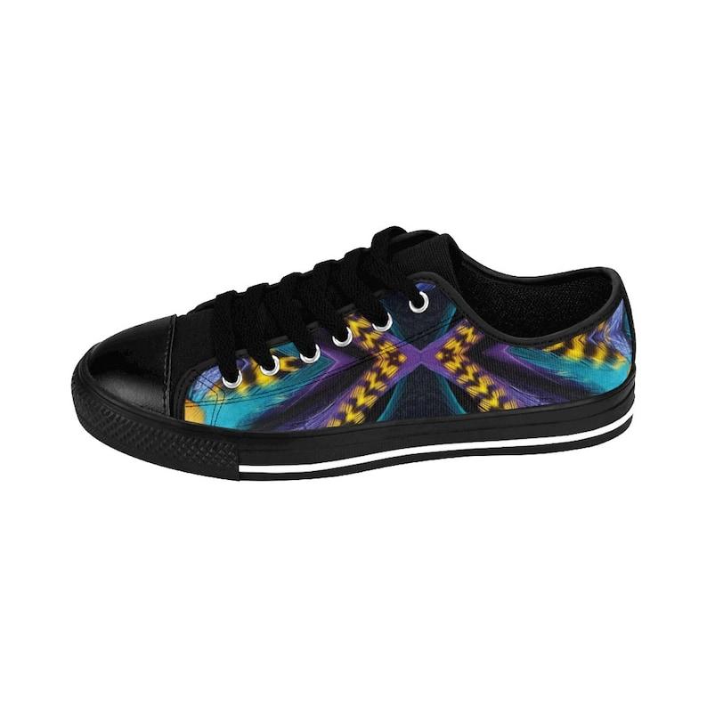 Retro Fuzz Feather Scope Collection M Slick Drip Trippy Hippy Lit Art Designs Mens Sneakers Purple Blue Yellow
