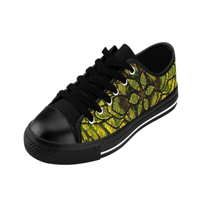 OG Feather Collection Women/'s Sneakers Interesting Threaded Scales Mandala Pattern Green Yellow W Chest Mail