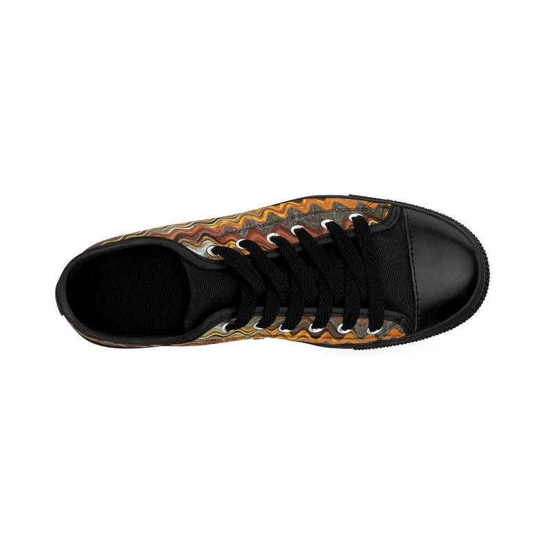 Trippy Abstract Fashion Vibe Horizon Womens Sneakers Feather Fractyl Kaleidoscope W Orange Gray