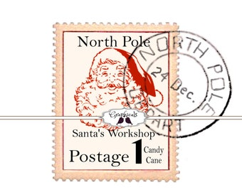 Printable Digital Santa North Pole Stamp Postmarked Download Image For Iron On Fabric Transfer Burlap Decoupage Tote Bags Cards No 1790