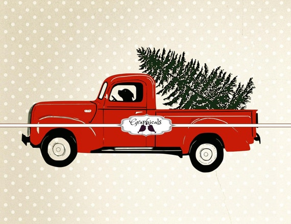 Old Truck With Christmas Tree.Truck Christmas Tree Labrador Printable Image Digital Download For Scrapbook Iron On Transfer Burlap Tote Pillow Decoupage Card 4708