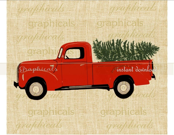 Old Red Truck With Christmas Tree In Back.Christmas Red Truck Tree My Drawing Printable Digital Download Image For Scrapbook Iron On Transfer Burlap Tote Pillow Decoupage Card 2277