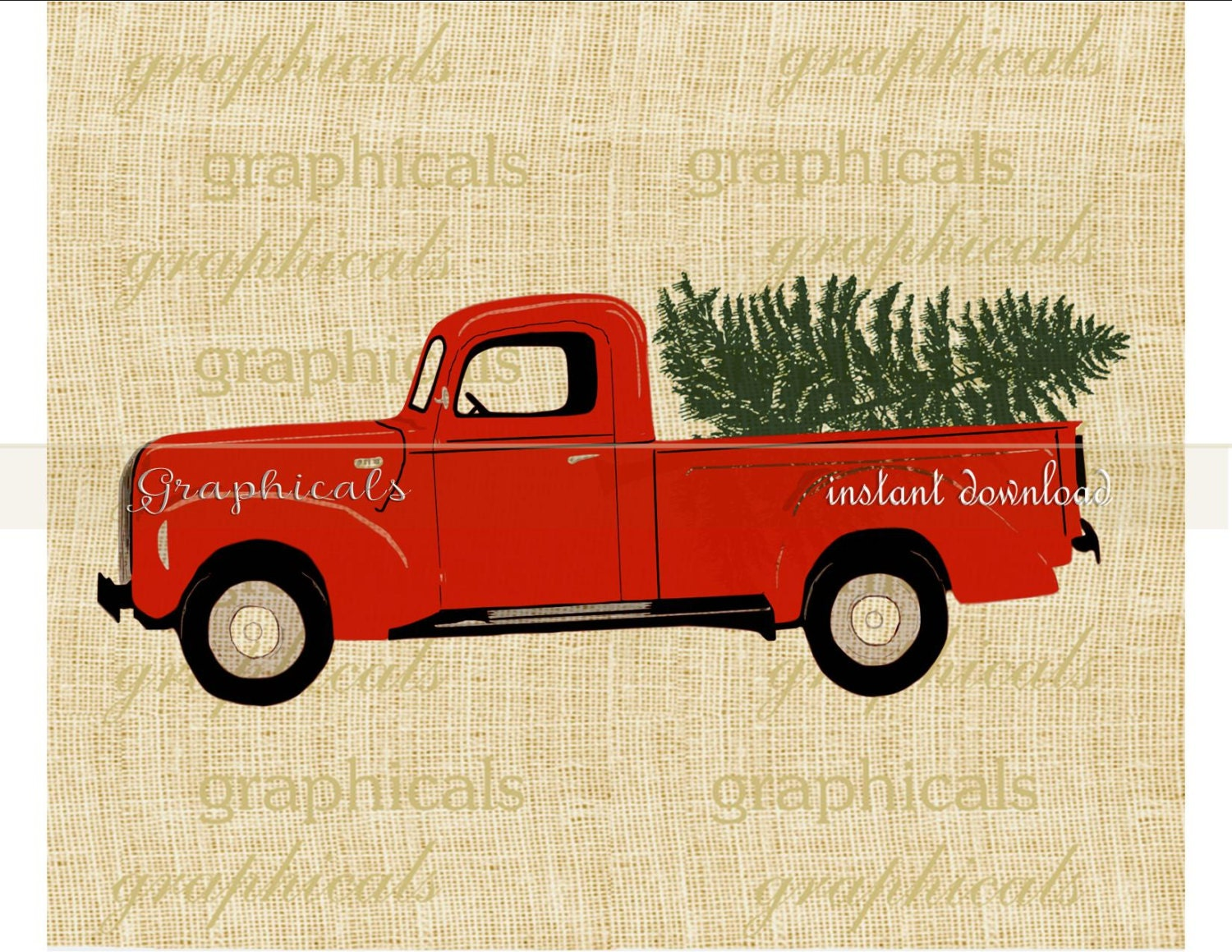 christmas red truck tree my drawing instant clip art digital download image for iron on transfer burlap tote pillow decoupage card no 2277