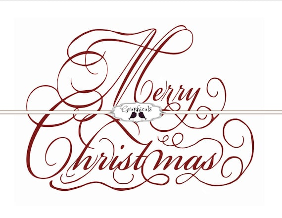 Merry Christmas Writing.Merry Christmas Red Calligraphy Instant Download Art For Scrapbook Iron On Fabric Transfer Burlap Decoupage Paper Tags 1890