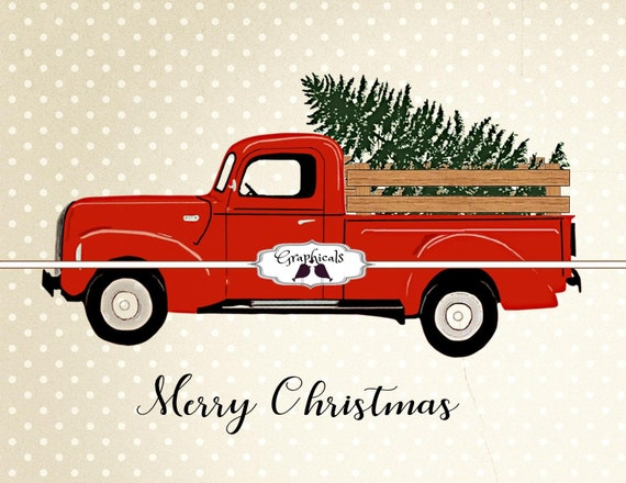 Old Red Truck With Christmas Tree In Back.Old Red Truck Wood Sides Christmas Tree 3 Fonts Printable Image Digital Download For Card Iron On Transfer Burlap Tote Pillow Decoupage 5252