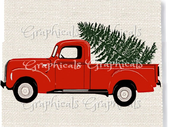 Christmas Red Truck.Christmas Red Truck And Tree Printable Graphic Instant Digital Download For Crafts Cards Iron On Image Transfer Burlap Tote Pillow 2277