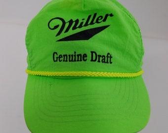 558c11e4f6c Miller Genuine Draft MGD Beer Vintage Nylon Trucker Cap Adjustable One Size  Neon Green 90s