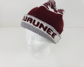 2b936de48d8 Kewaunee Engineering WI Maroon Gray Pom Pom Winter Stocking Knit Cap Hat