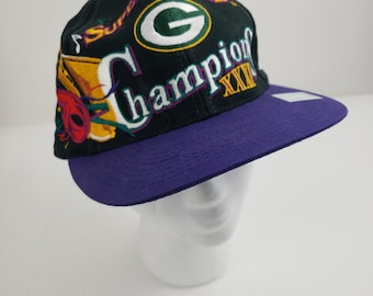 36e8383e Green Bay Packers Super Bowl XXXI 31 Champion Snapback Hat 90s 1996 Vintage  with Sticker