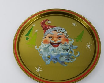 Vintage Mid Centry Santa Christmas Holiday Tray Metal Round 11""