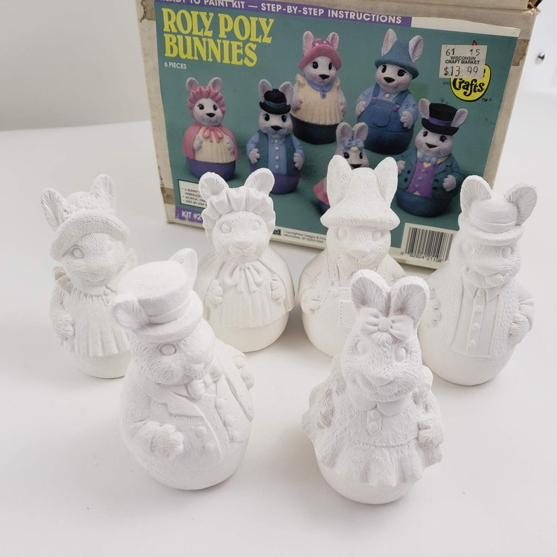 Bunny Rabbit Craft Kits by Wee Crafts The Cottontail Family Roly Poly 90s