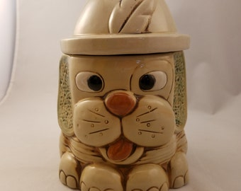"Vintage Dog with Hat Cookie Jar Tan Brown 8"" Tall 6"" Diameter Canister Storage container"