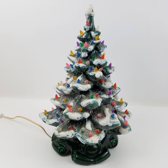 vintage ceramic light up christmas tree green atlantic mold