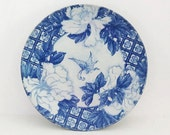 Vintage Japanese blue and white Imari plate transferware with butterfly and flowers - Antique Japanese plate or bowl
