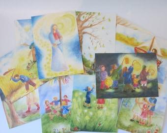 Monthly Cards Set Ilona Bock - Seasonal Table - 12 Postcards - Waldorf