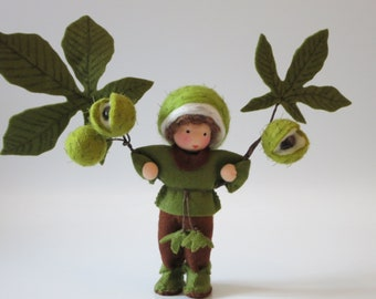 Chestnutboy - Flower Doll  - Waldorf Inspired - Nature Table