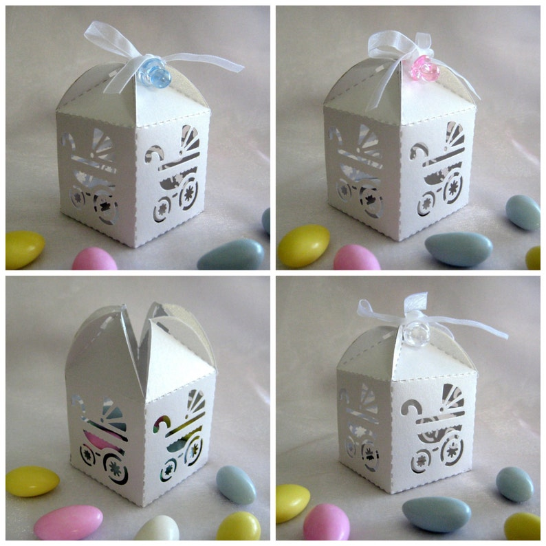 FREE SHIPPING White Baby Carriage Party Favor Boxes with Pacifier for Baby Shower Favors