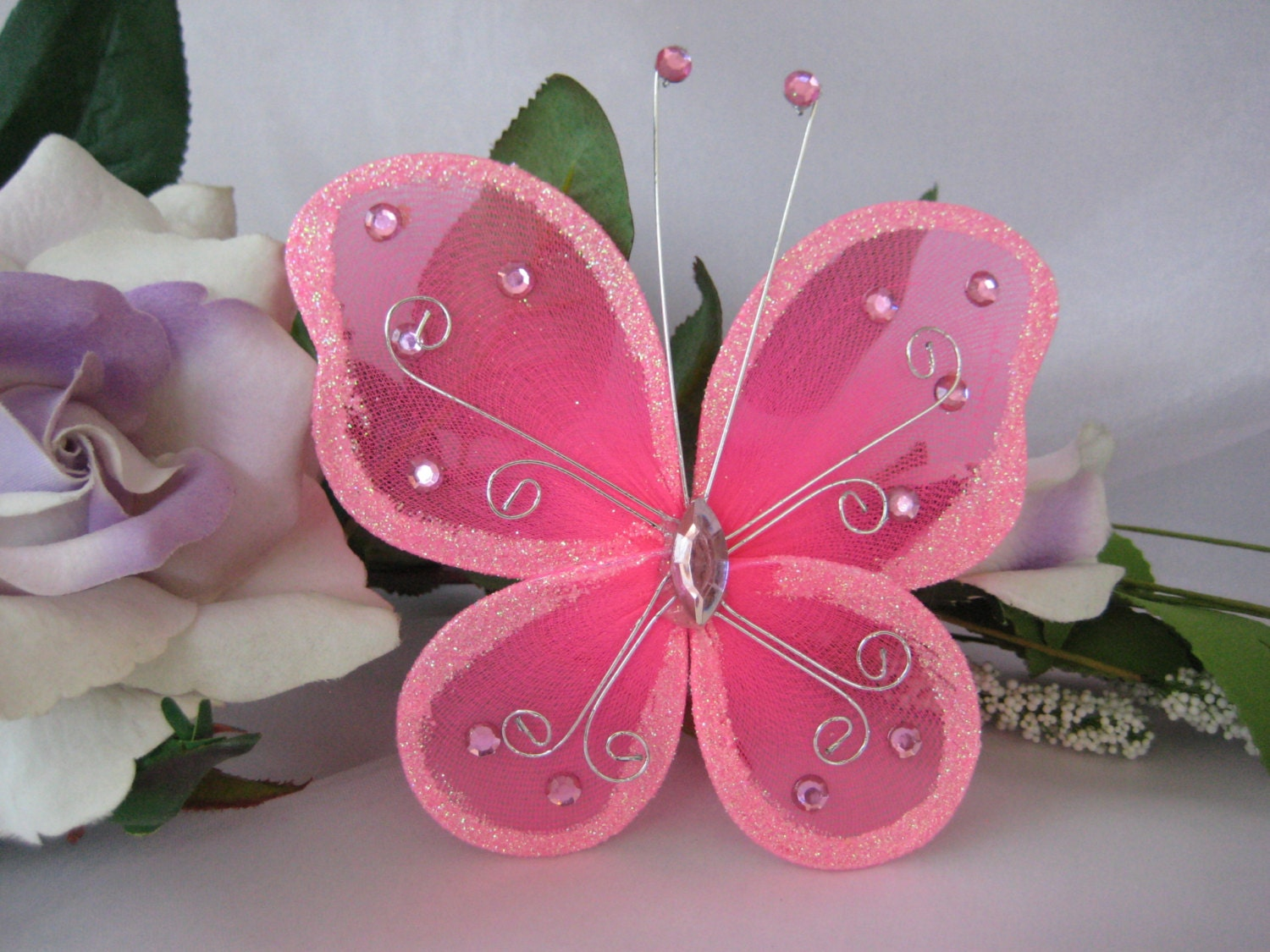 5 Hot Pink Nylon Butterflies for Baby Shower Wedding | Etsy