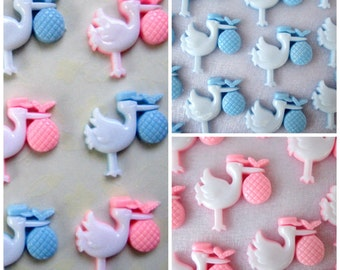 "1"" Blue Stock or Pink Stork Baby Charms, Baby Boy Shower, Embellishment, Baby Shower Decoration, Card Making, Favor Accents"