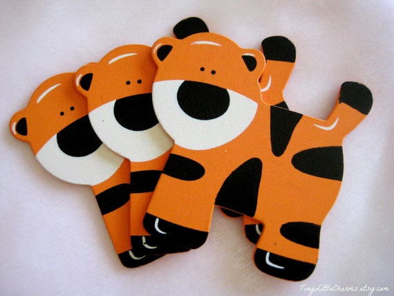 Tiger Wooden Animal Ornaments For Safari Jungle Themed Baby Etsy