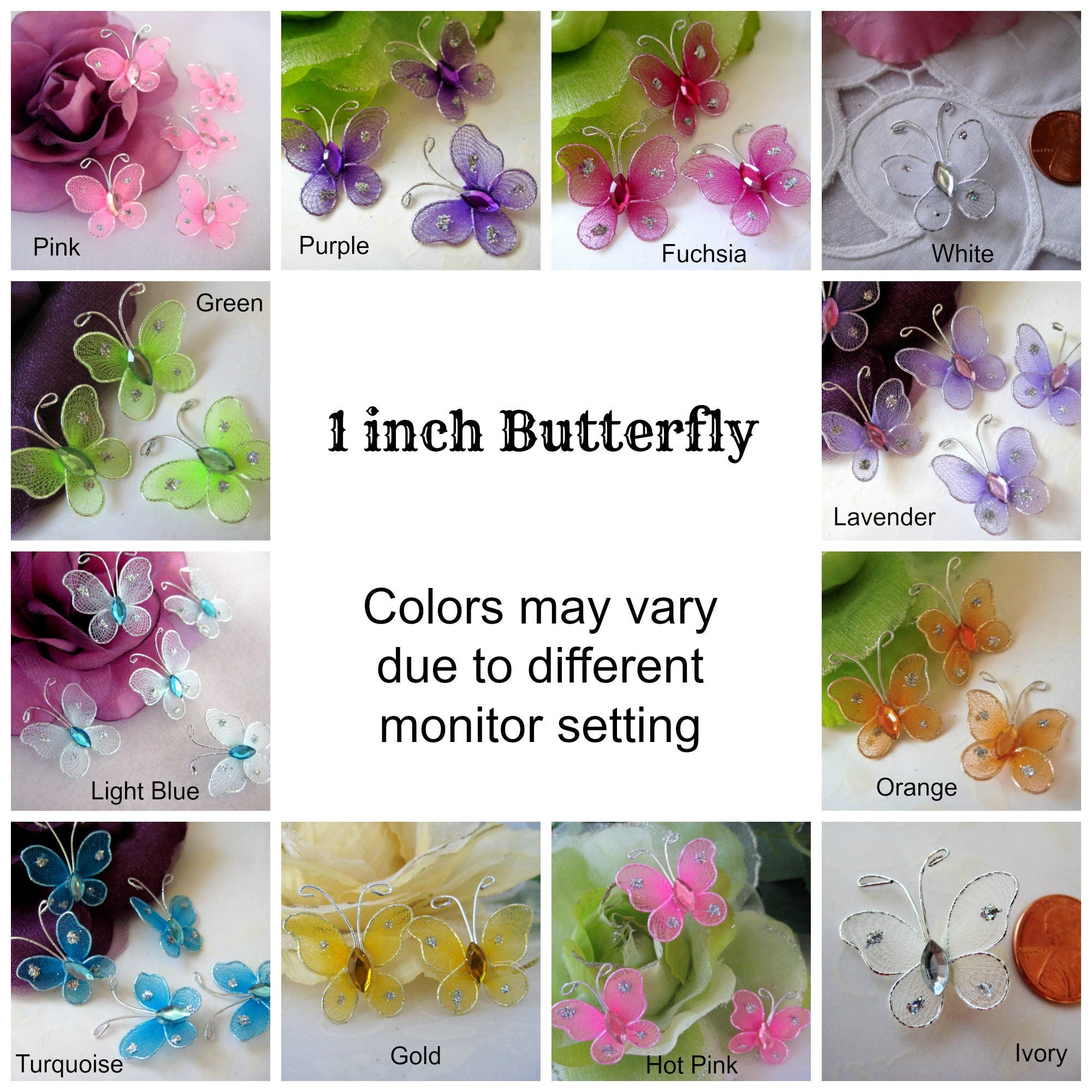 36 pcs 1 inch Nylon Butterfly Pink Blue Fuchsia Turquoise