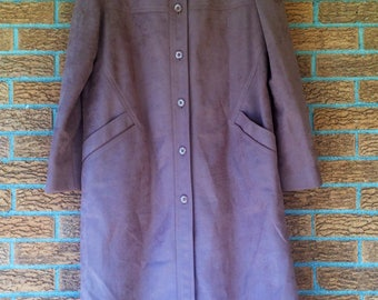 Womens faux suede 60's 70's trench coat winter car jacket pink salmon large extra large vintage