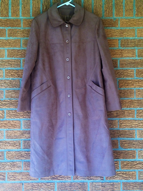 Womens faux suede 60's 70's trench coat winter car