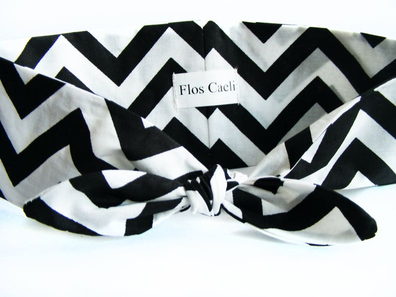 Black and white chevron print headband women bow bandana  5f9080a7248