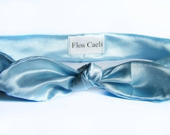 Light Blue Satin Headband - Women Headband - Shiny headband - hir wrap - bow bandana - turban