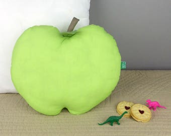 Green Apple shaped handmade Decorative Throw Pillow - Fruit cushion for children's bedroom or nursery