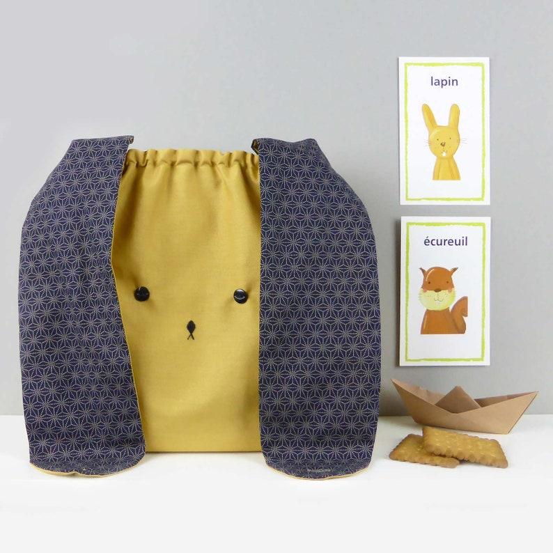 Handmade Easter Bunny rabbit woodland fabric lunch bag Japanese mustard and navy children nursery toddler messenger bag gift for Easter