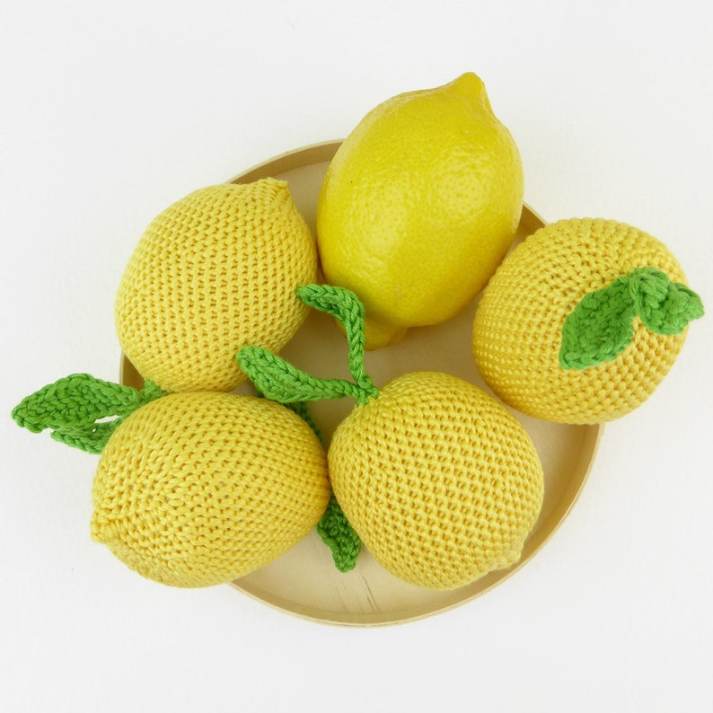 play pretend learning educational crochet yellow fruit citrus for babies and toddlers Handmade crocheted lemon play food soft toy