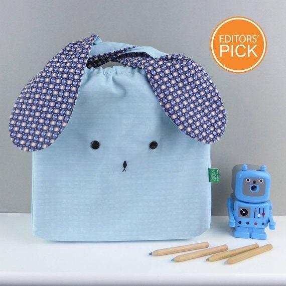 gift for Easter Handmade Easter Bunny rabbit woodland fabric lunch bag Japanese mustard and navy children nursery toddler messenger bag