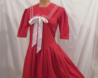 LAURA ASHLEY retro sailor flapper dress - red cotton - full skirt sz 4 XS