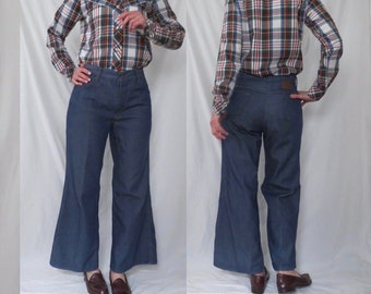 1a5637d8b20 S M VINTAGE TOUGHSKINS 70s denim jeans Sears - high waist - wide leg flare