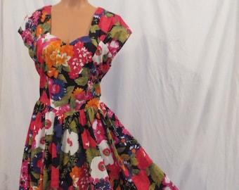 GARDEN PARTY floral cotton tea dress - retro style - full skirt sz 12 M