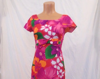 HAWAIIAN HOSTESS tropical maxi dress - full length with train - Polynesian Bazaar XS/S