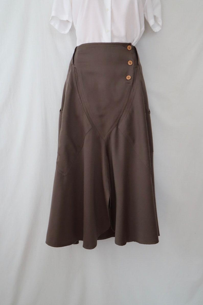 made in Italy La Squadra cocoa mushroom taupe wool deep pockets 70s boho prairie M MONTE CARLO vintage full circle skirt