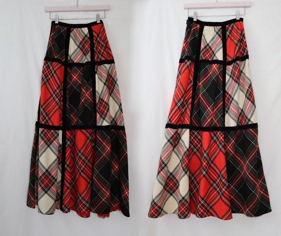 vintage 1970s Tartan Plaid /& Velvet Patchwork Skirt by Bill Atkinson