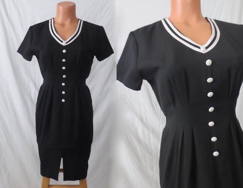 b8221eb37e Xs/s BLACK AND WHITE vintage wiggle dress Chablis Canada | Etsy
