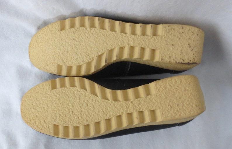 platform wedge high heel WONDERFUL WEDGIES 6 deadstock vintage shoes navy blue topsider kiltie fringe loafer Animato